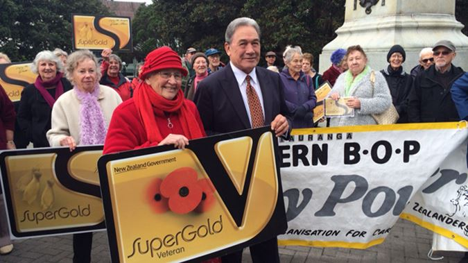 Winston Peters with SuperGold Card holders