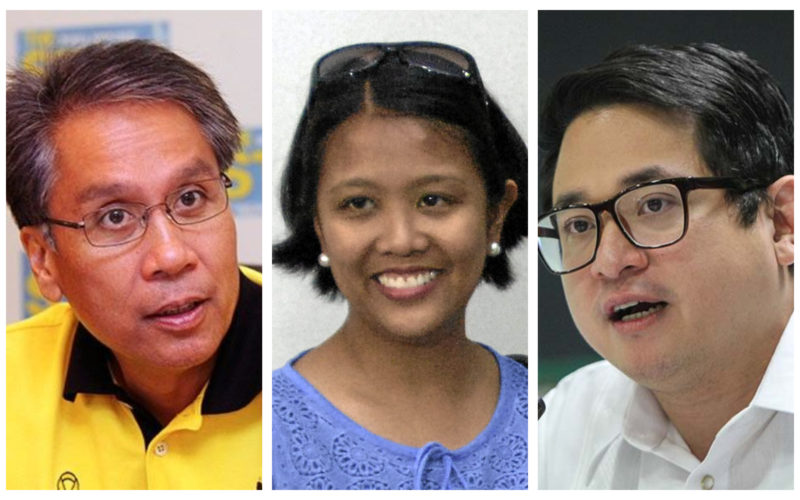 Mar Roxas, Nancy Binay and Bam Aquino collage