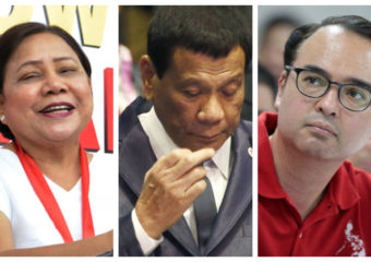 Cynthia Villar, Rodrigo Duterte and Alan Peter Cayetano
