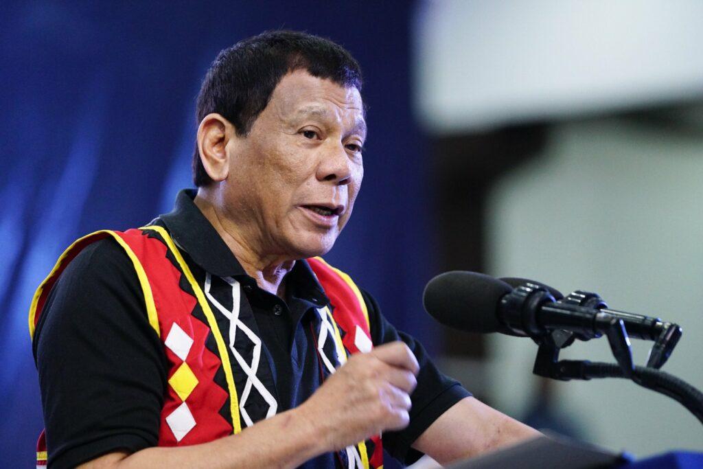 President Rodrigo Duterte makes a speech