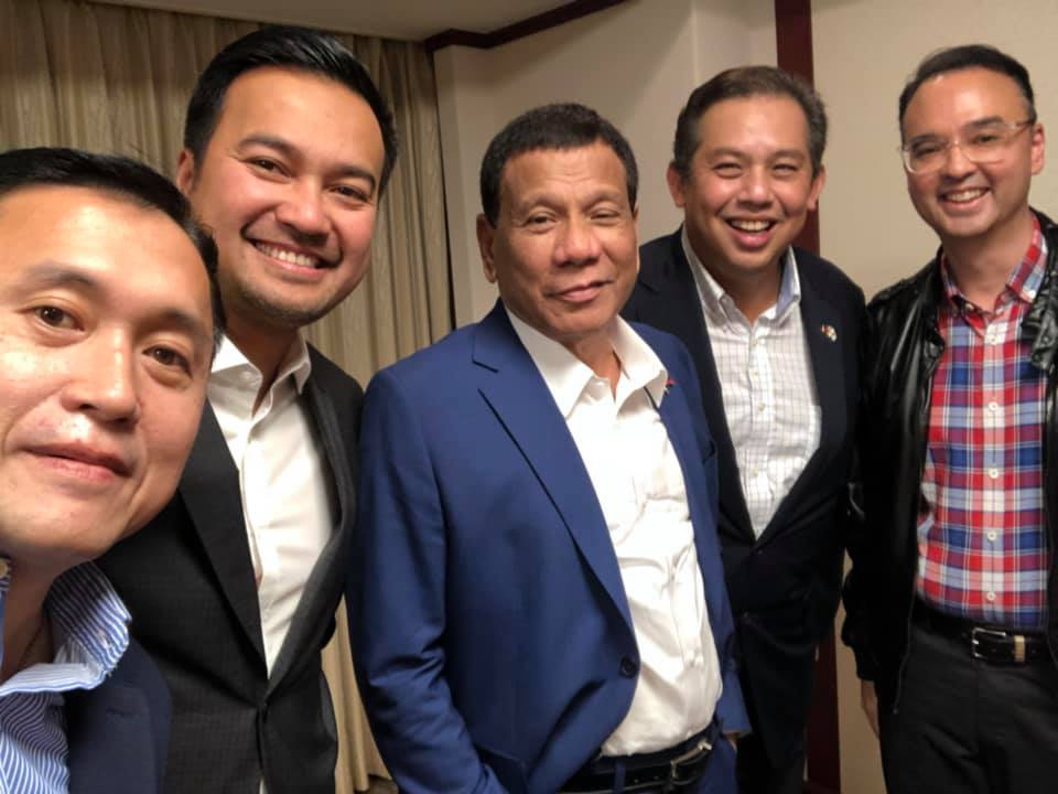 President Duterte with House Speaker Lord Allan Velasco, Martin Romualdez, Alan Peter Cayetano