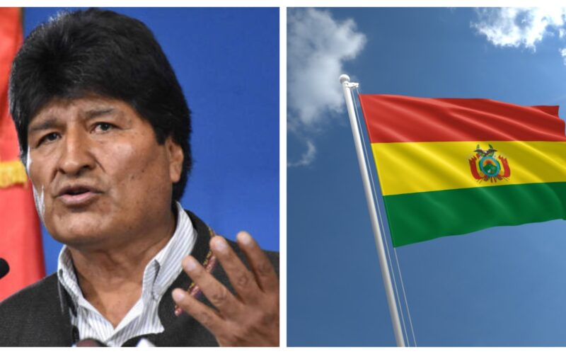 Photo collage of Evo Morales Bolivia Flag
