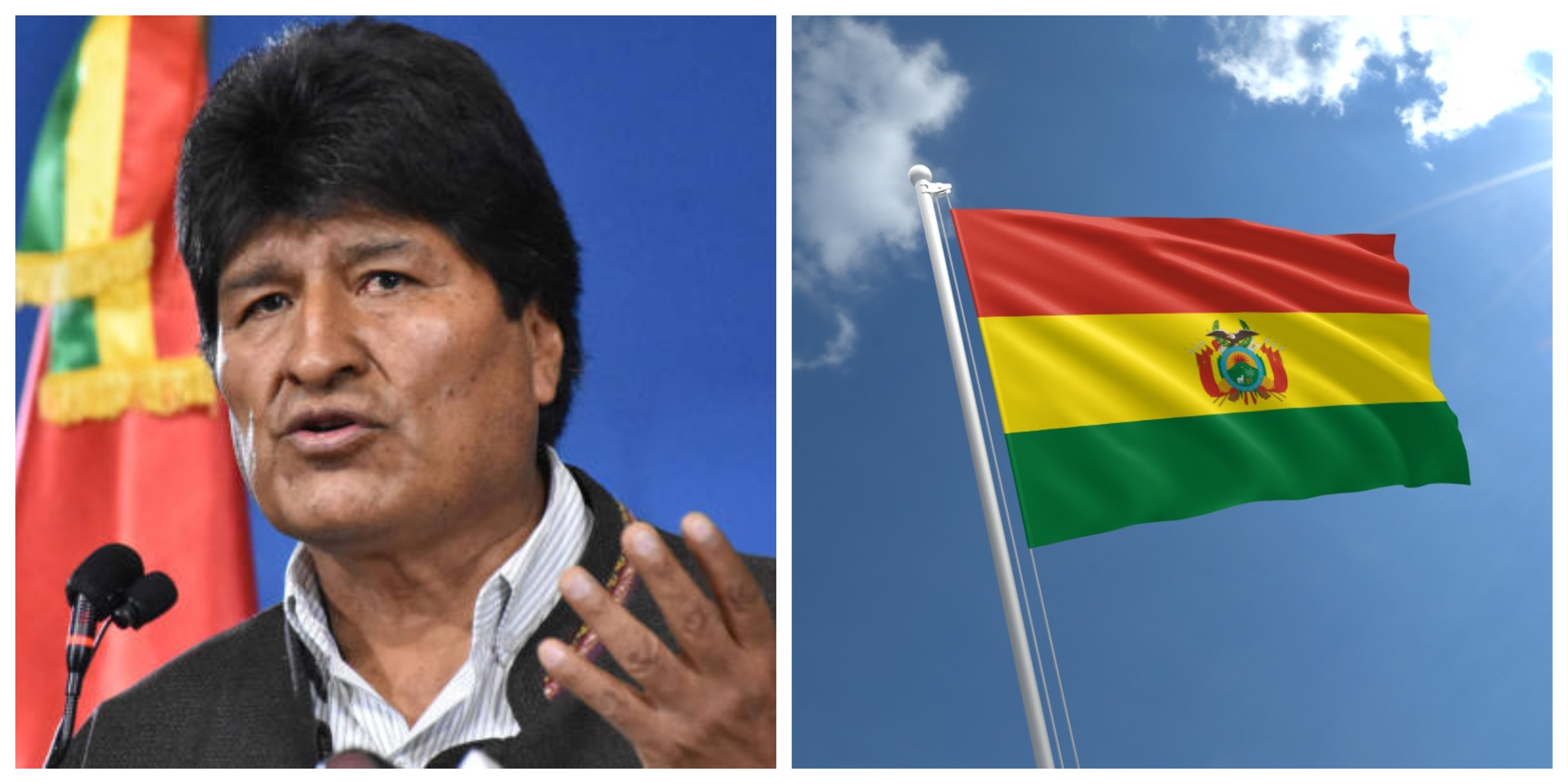 Photo collage of Evo Morales Bolivia Flag