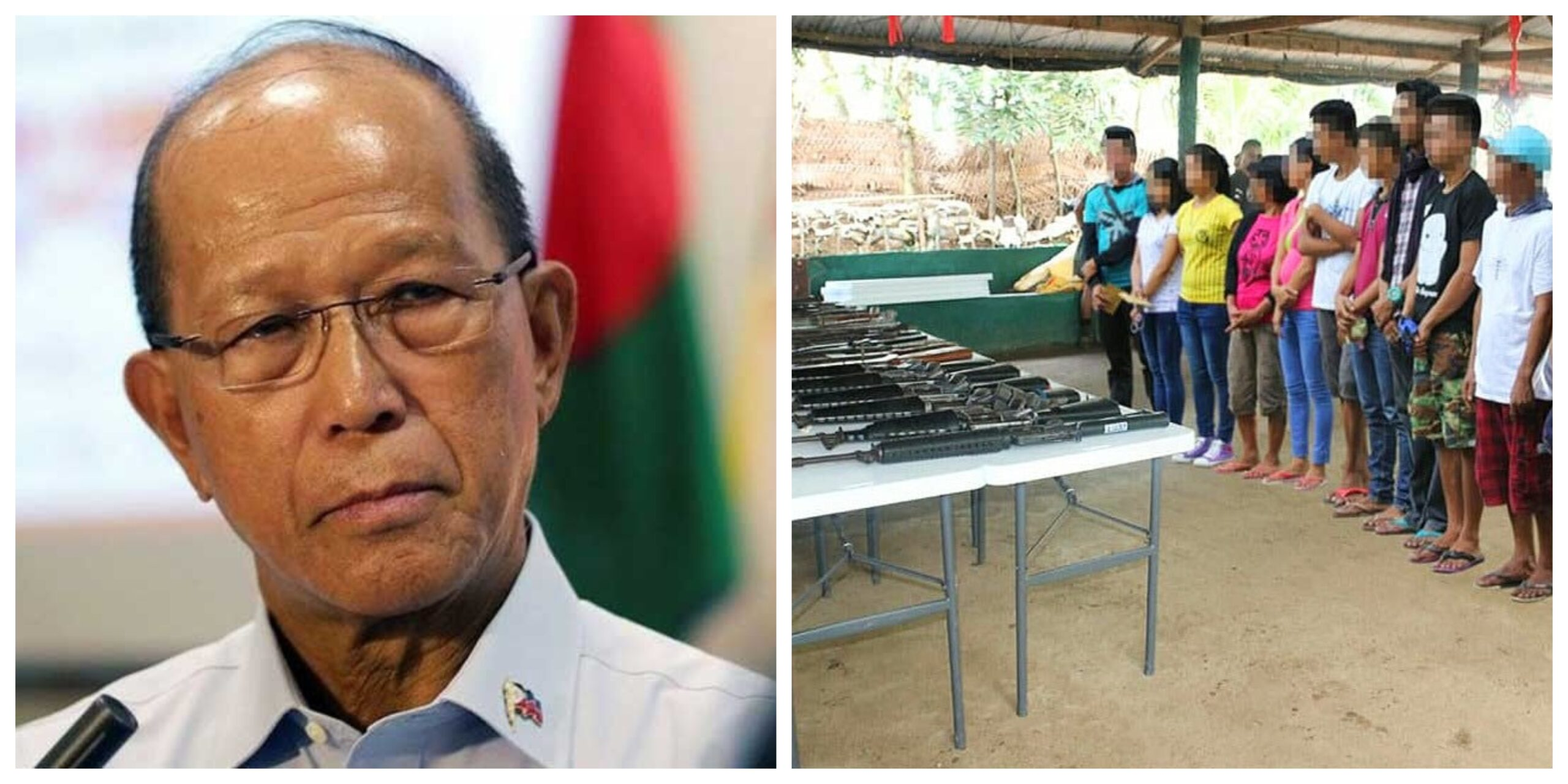 Defense Secretary Delfin Lorenzana and fake NPA surrenderees