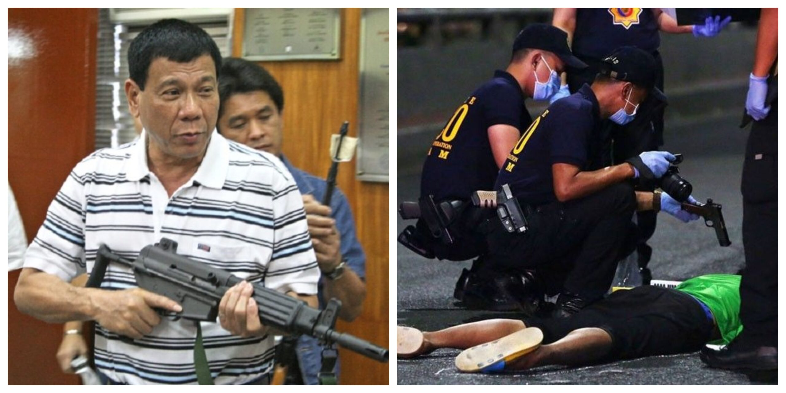Collage of Rodrigo Duterte and war on drugs.
