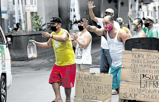 Poor jeepney drivers begging alms Metro Manila Covid-19