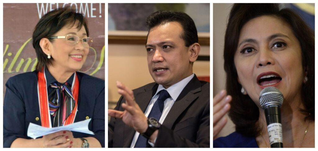 Potential 1Sambayan nominees for the presidency: (from left) Movie star Vilma Santos-Recto, former Senator Antonio Trillanes IV, Vice President Leni Robredo.