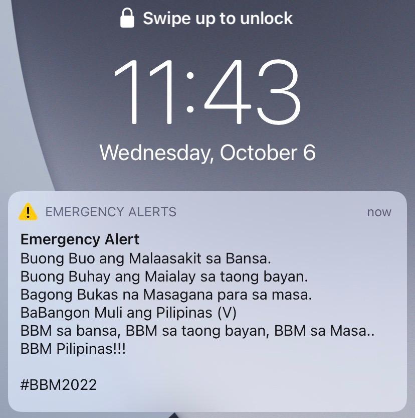 Bongbong Marcos emergency alert message President Halalan 2022